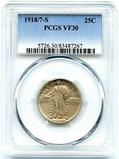 1918/7-S Standing Liberty Quarter Overdate, PCGS VF-30, Very Nice and Original!