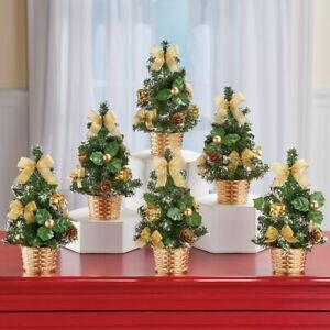 Set of 6 Fully Decorated Festive Mini Gold Tabletop Centerpiece Christmas Trees