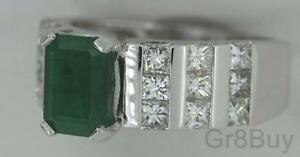RING: Ladies 14k White Gold EF VVS 1.62ct with GREEN EMERALD #6.5