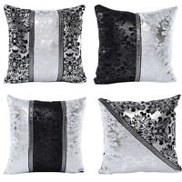 Silver Black Square Pillow Cases Sofa Throw Cushion Cover Luxury Home Sofa Decor