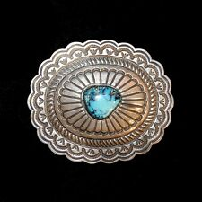 Navajo Stamped Sterling Silver & Turquoise Belt Buckle by Harrison Blackgoat