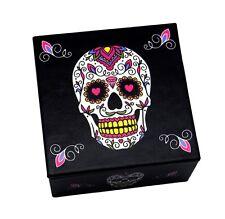 Day of The Dead Sugar Skull Black & White Jewelry Trinket Box