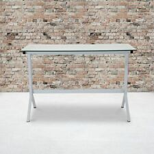 Durable Winfield Collection Glass Computer Desk Withwhite Metal Frame