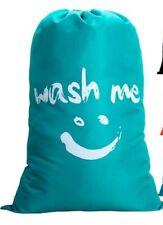 Extra Large Laundry Bag with Drawstring, Jumbo Size Washing Bag, Foldable Blue