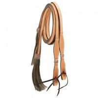 "Western Natural Leather Rawhide Braided Split Reins 96"" Long"