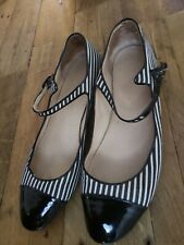 Chanel Black White Striped Canvas Patent Leather Mary Janes Shoes w/bag 38 7US
