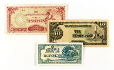 3 diff. countries Japan invasion paper money NEI, Burma, Philippines WW2 circ.