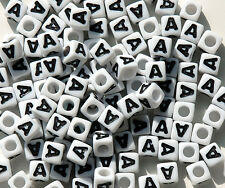 Letter A - 100pc 7mm Alphabet Beads White with Glossy Black Letters