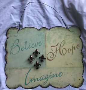 BELIEVE HOPE IMAGINE METAL MESSAGE NOTE BOARD SCALLOP EDGE 4 MAGNETS METAL WIRE
