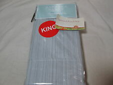 New Barbara Barry SUBTLE STRIE - Cinder King Pillowcase Pair ~ Blue/Gray Stripe