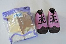 Robeez mini shoes collection for girls Pink and brown wing tipped 3-6 mth. shoes