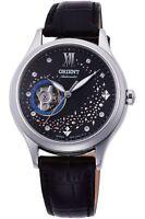 Orient Classic Reloj de Mujer Automático Circonios Fondo Cristal Pulsera Cuero