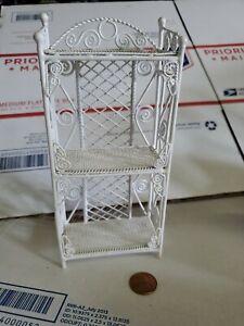 "Vtg WIRE WICKER Bookcase shelf Dollhouse Miniature living room furniture 7"" (dh)"