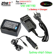 Charger+ Battery for Panasonic VW-BC10E VW-VBT190 VW-VBT380 HC-W570 V770 AU-ship