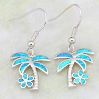 Cute Palm Tree Ocean Blue Fire Opal 925 Silver Jewelry Dangle Drop Earrings