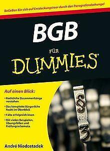 BGB für Dummies (Fur Dummies) von Niedostadek, André | Buch | Zustand gut