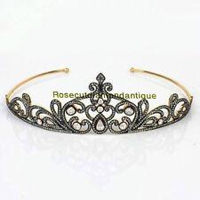 Silver 925 Polki Awesome Wedding Tiara Victorian Antique Rose Cut 7.58Ct Diamond
