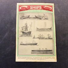 Vintage Book Print - Ships Through the Ages - 1936