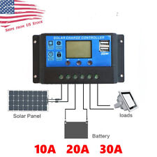 10/20/30A Solar Panel Battery Regulator Charge Controller Dual USB 12V 24V US