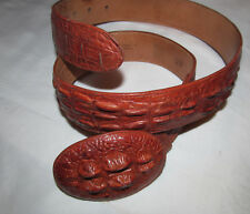 vintage Rudel horn alligator croc belt buckle / belt Vista Piel Forro Bovino 32