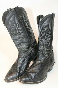 Larry Mahan Mens Size 12 XE Wide Ostrich Leather USA Made Cowboy Boots M34171