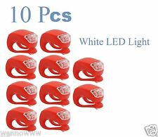 10pcs LED Bike Light Bicycle White Lamp Waterproof Head Tail Wheel Red Silicone