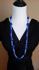 """⭐ Blue Lapis Lazuli Beaded Necklace With Goldtone Beads137.6 Grams, 36"""" Long"""