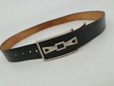 Vintage Leather Belt Western Distressed Black 36 38