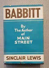 BABBITT 1922 Sinclair Lewis 1st Edition VG HC DJ