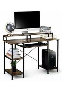 Seseno Computer Desk with Storage Shelves, Keyboard Tray, Hutch Shelf Monitor