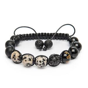 Shamballa Bracelet Hand Made UK Dalmatian Jasper Onyx Om Agate Gemstone