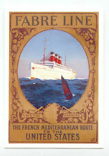 POSTCARD Shipping *FABRE LINE* unp/unw - French Med Route to USA - new 10764