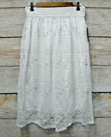 Metro Wear Skirt Womens Medium White Floral Lace Midi with Crochet Waist New
