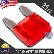 25 Pack 10A Mini Blade Style Fuses APM/ATM 32V Short Circuit Protection Car Fuse