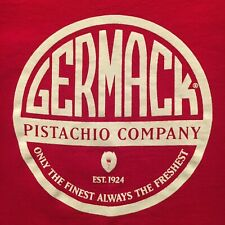 red GERMACK PISTACHIO COMPANY t-shirt--FINEST FRESHEST--nuts DETROIT--NEW--(L)