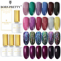 BORN PRETTY 6ml Gellack Holographisch Purple Glitzern Soak Off Nagel Kunst Gel