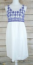 Beach Lunch Lounge Smock Dress Embroidery Sleeveless Boho Ethnic White Small S