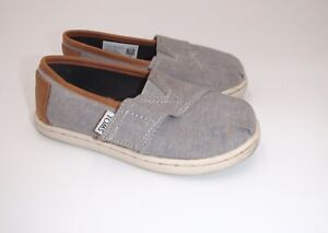 Lot of 2 pair Toms boy's 9 T9 slip on gray tan leather trim