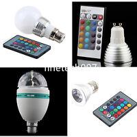 E27 GU10 B22 3W Colors Changing RGB LED Light Bayonet Bulb Remote Control Lamp T