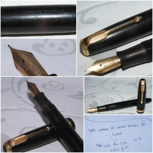 1960's PARKER AF DUOFOLD FOUNTAIN PEN BLACK 14K GOLD FINE FIRM NIB - VERY NICE
