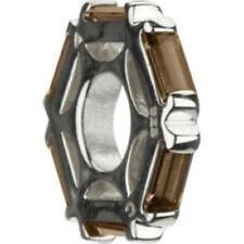Bead Charm JB-6B, Auth. Chamilia .925 SS-Brown Topaz Hexagonal Wheel