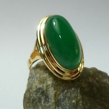 333/8 K Gold 58 (18,4 Mm Ø ) Antico Verde Agata Anello Donna