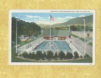 PA Port Allegany 1908-39 vintage postcard COMMUNITY SWIMMING POOL AT PARK PENN