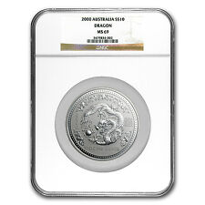 2000 Australia 10 oz Silver Year of the Dragon MS-69 NGC