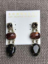 NEW Auth Sorrelli Brown Swarovski Crystal Chain Gold Long Drop Earrings $75