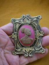 (CA20-46) RARE African American LADY pink + milk brown CAMEO Pin Pendant JEWELRY