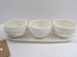 "Pottery Barn Urchin Melamine Condiment Server Set/ 3 White 4"" Diam. #9371"