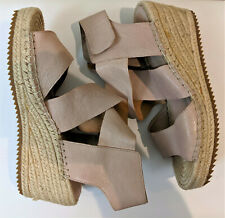 Eileen Fisher Willow Beige Nude Leather Espadrille Wedge Sandal Ankle strap 7.5M
