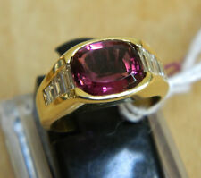AWESOME ONE OF KIND 18K SOLID GOLD RING W/DIAMONDS & RARE RHODOLITE GEMSTONE