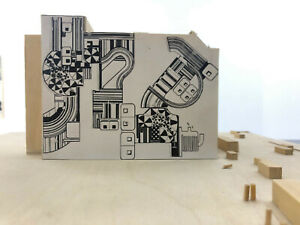 Original work by Eduardo Paolozzi; suitcase proposal for Berlin wallpainting